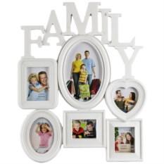 Белая мультирамка-коллаж для 6 фотографий Для всей семьи