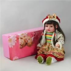 Декоративная виниловая кукла с берете с бантом