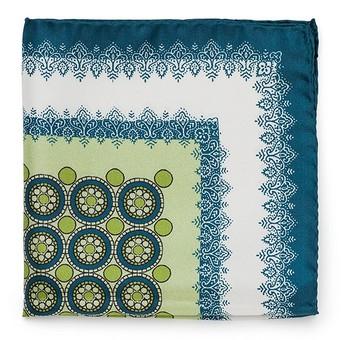 Оливково-серый шёлковый платок Roda