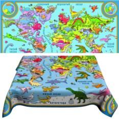 Детская скатерть «Карта мира с динозаврами»