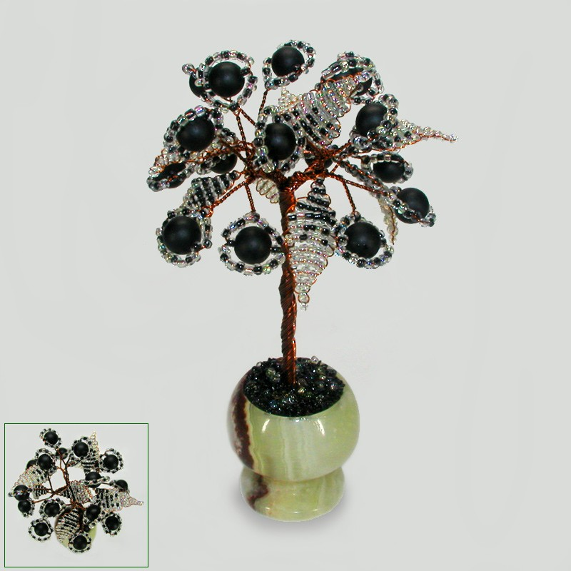 Миниатюрное дерево счастья из шунгита в вазочке из оникса
