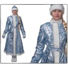 Костюм Снегурочка, длинная, приталенная (парча серебро/голубая)