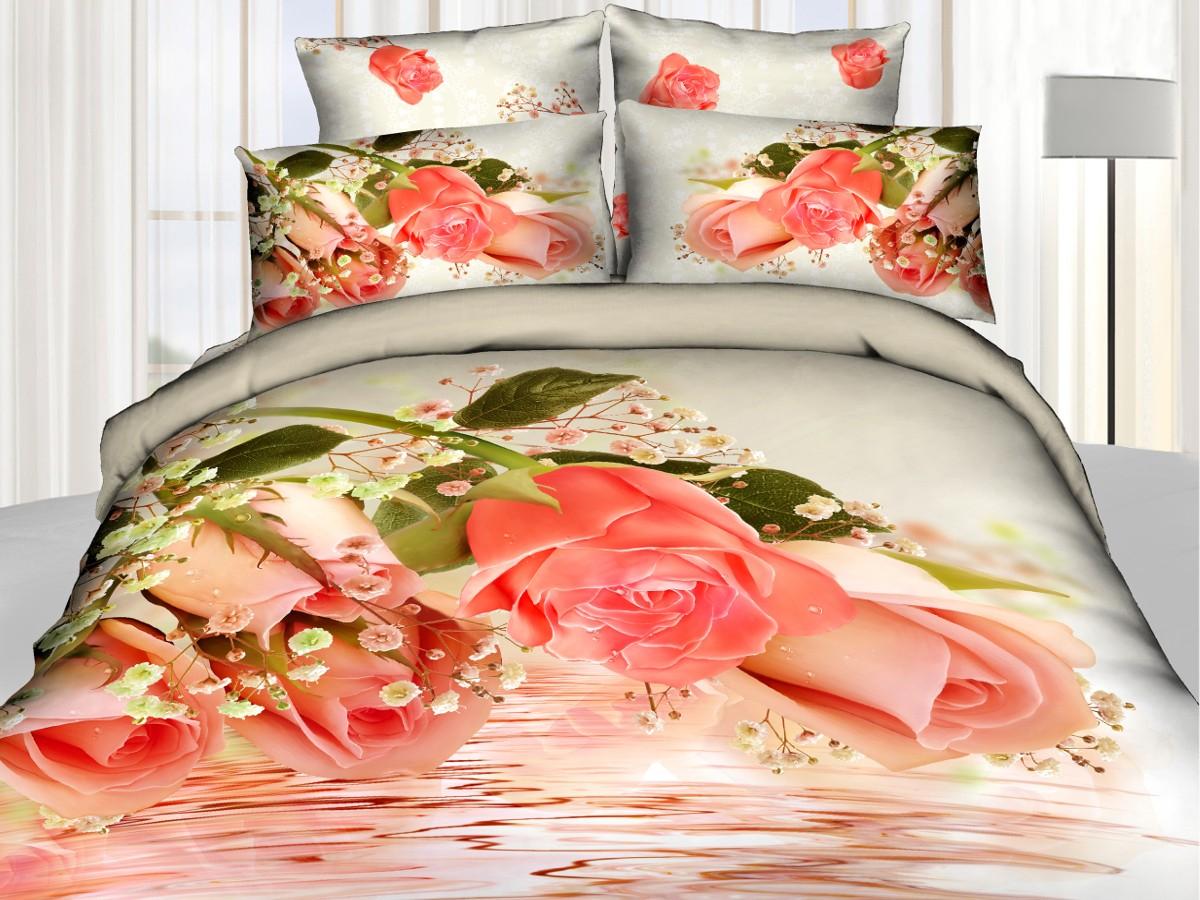 Евро комплект постельного белья 3D, розовые розы