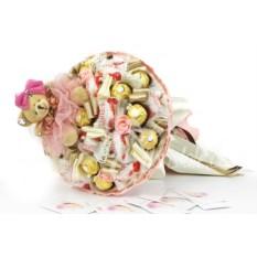 Винтажный букет с мишкой и конфетами