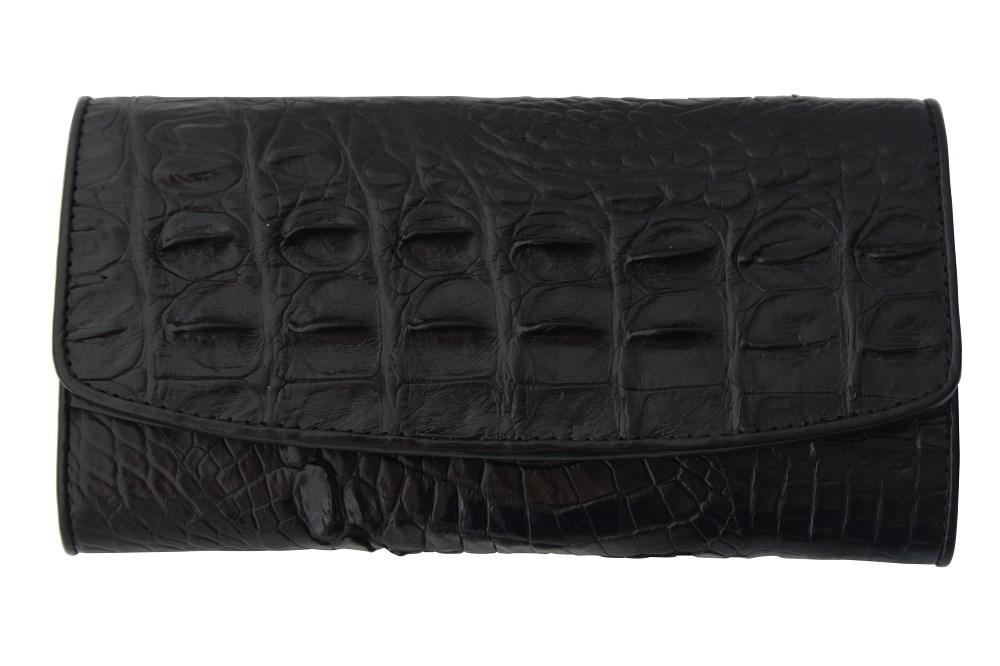 bd067ef74a48 Фактурный кошелек из кожи крокодила черного цвета | Подарки.ру