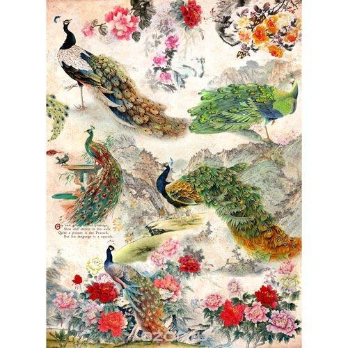 Рисовая бумага для декупажа Craft Premier Павлины, цветы
