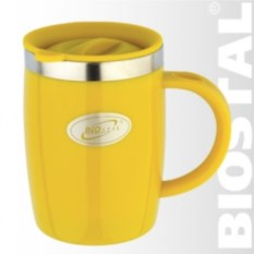 Желтая термокружка с крышкой Biostal