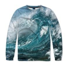 Мужской свитшот с полной запечаткой Волна