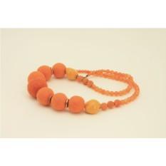 Войлочные бусы «Оранжевое настроение»