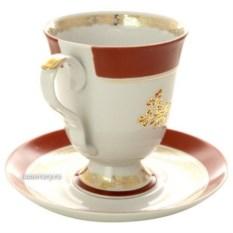Фарфоровый бокал с блюдцем Золотой букетик