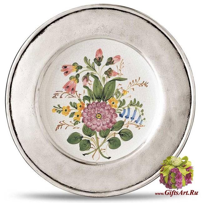 Настенная тарелка из оловянной коллекции LOMBARDIA