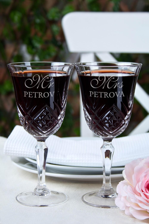Набор бокалов с именной гравировкой Mr & Mrs Smith