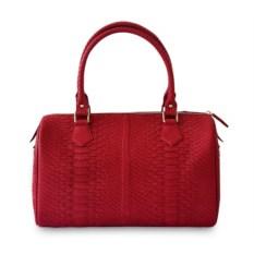 Красная женская сумка из кожи питона