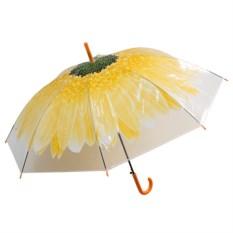 Женский зонт-купол Цветок желтого цвета