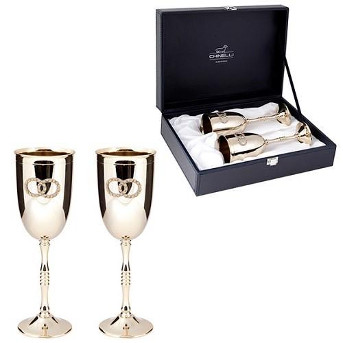 Набор стальных бокалов для шампанского Золотые кольца
