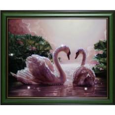 Картина с кристаллами Сваровски Влюбленные лебеди