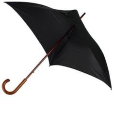 Черный зонт-трость механический с деревянной ручкой