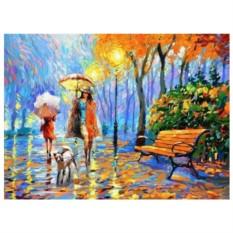 Картина-раскраска по номерам на холсте Осенний вечер