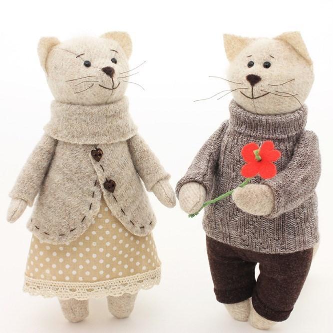 Игрушки ручной работы Кот и Кошка. Первое свидание»