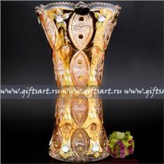Хрустальная ваза для цветов с золочением