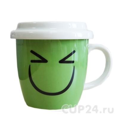 Кружка «Улыбка» с крышкой (зеленая)