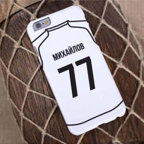 Именной чехол для iPhone Звезда футбола (белый)