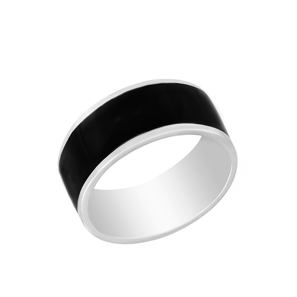 Мужское кольцо из родированного серебра, с черной эмалью