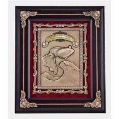 Ключница цвета венге Золотая рыбка из дерева и меди