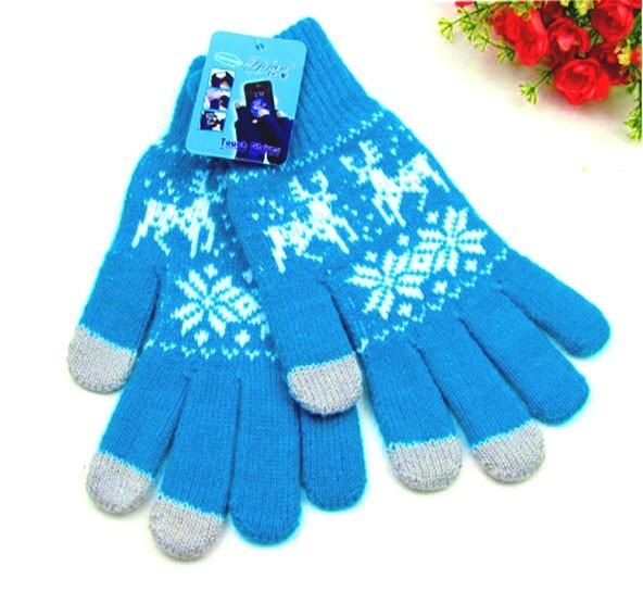 Сенсорные перчатки Белый олень, голубые