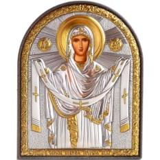 Икона Покрова Богородицы в серебряном окладе