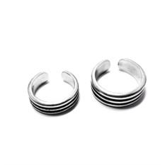 Фаланговые парные кольца Рок-н-ролл втроем (серебро)
