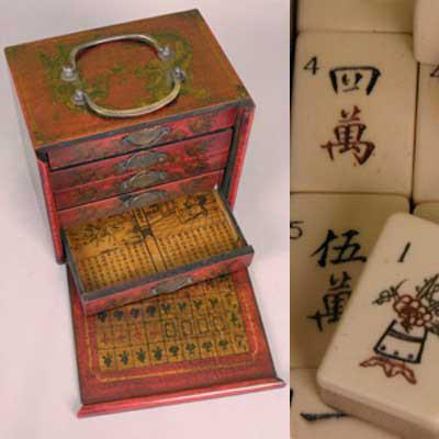 Малый набор ма-джонг в красном ящике