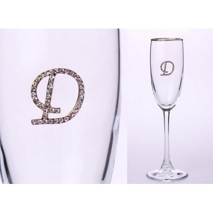 Бокал для шампанского «Д» с золотой каймой