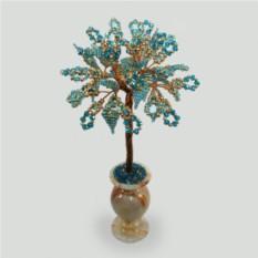 Дерево судьбы из топаза в вазочке из оникса