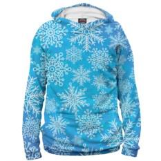 Мужское худи Снежинки (цвет: голубой)