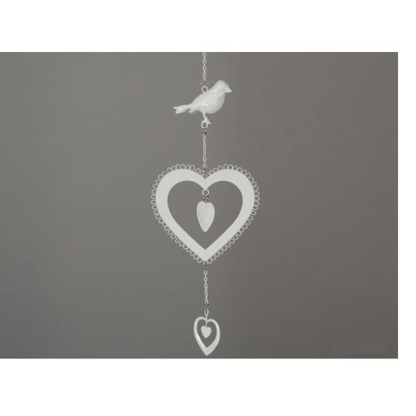 Декоративная подвеска Птичка и сердца