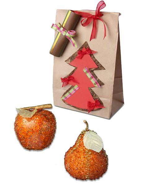 Набор ёлочных игрушек «Терракотовые фрукты»