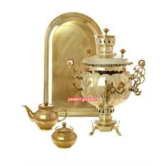 Золотистый набор с угольным самоваром