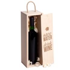 Коробка для вина с гравировкой Save water, drink wine