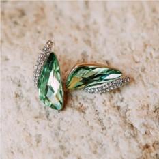 Зеленые серьги «Кристаллы» с инкрустированной вставкой