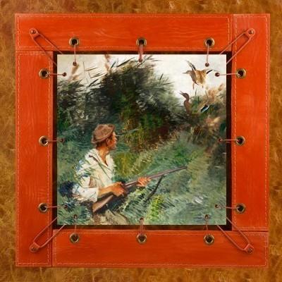 Картина из кожи Охотник на уток Бруно Лильефорс