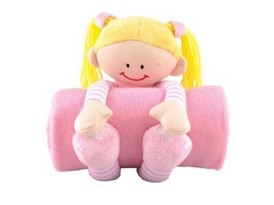 Мягкая игрушка «Девочка» с флисовым пледом, розовый