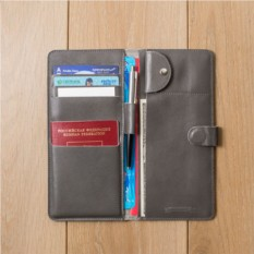 Кожаный серый холдер для документов Hyper Keeper