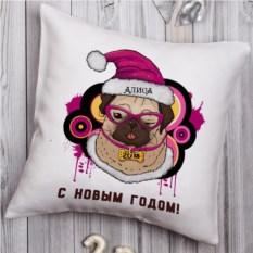 Именная декоративная подушка Мопс