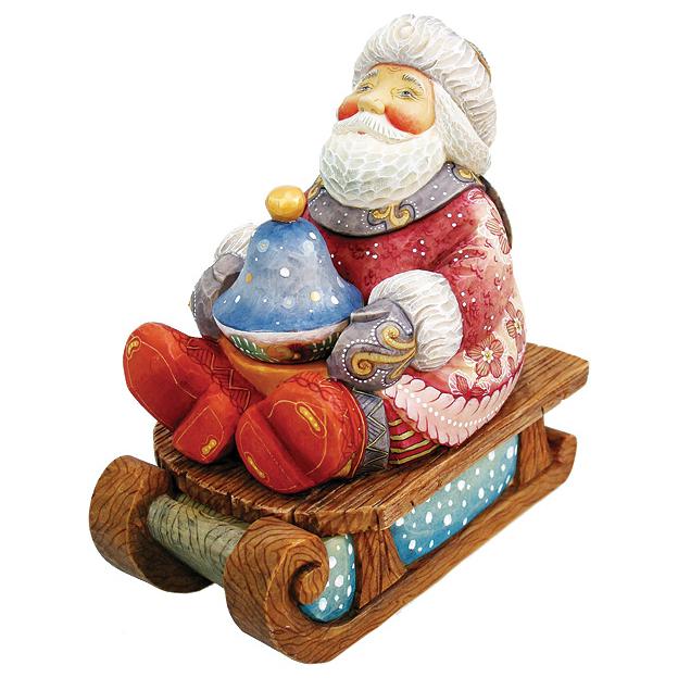 Шкатулка «Дед Мороз на санях»