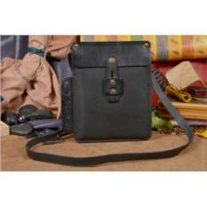 Черная кожаная сумка-планшет ручной работы коллекции QZ