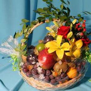 Корзина с фруктами и цветами «Прости меня»