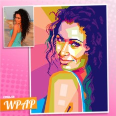 WPAP портрет девушки на холсте по фото