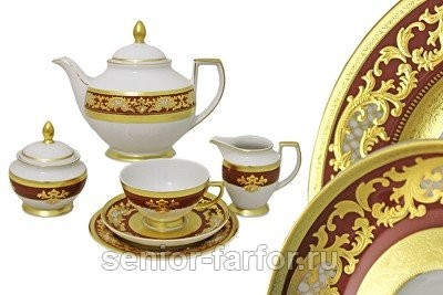 Чайный сервиз Falkenporzellan (Алена бордо) на 6 персон