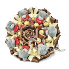 Букет Роскошь из мишек Тедди и конфет Ferrero Rosher